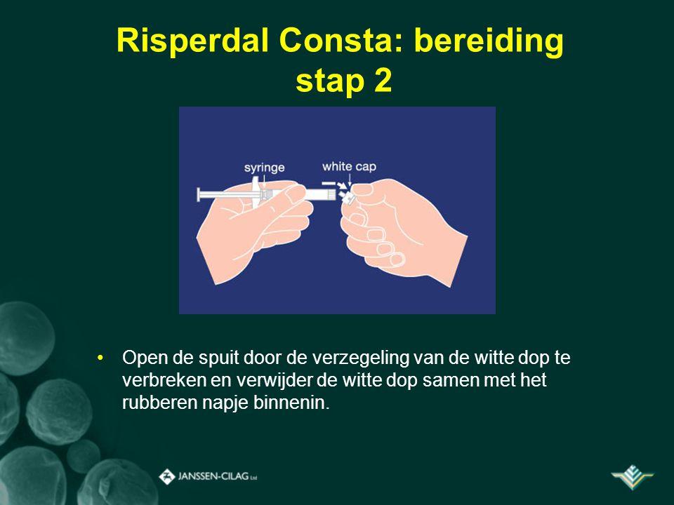 Risperdal Consta: bereiding stap 2 Open de spuit door de verzegeling van de witte dop te verbreken en verwijder de witte dop samen met het rubberen na