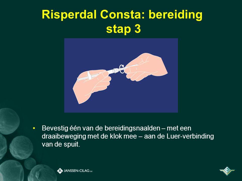 Risperdal Consta: bereiding stap 3 Bevestig één van de bereidingsnaalden – met een draaibeweging met de klok mee – aan de Luer-verbinding van de spuit