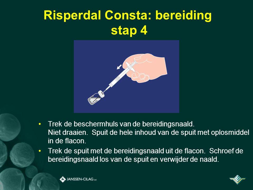 Risperdal Consta: bereiding stap 4 Trek de beschermhuls van de bereidingsnaald. Niet draaien. Spuit de hele inhoud van de spuit met oplosmiddel in de