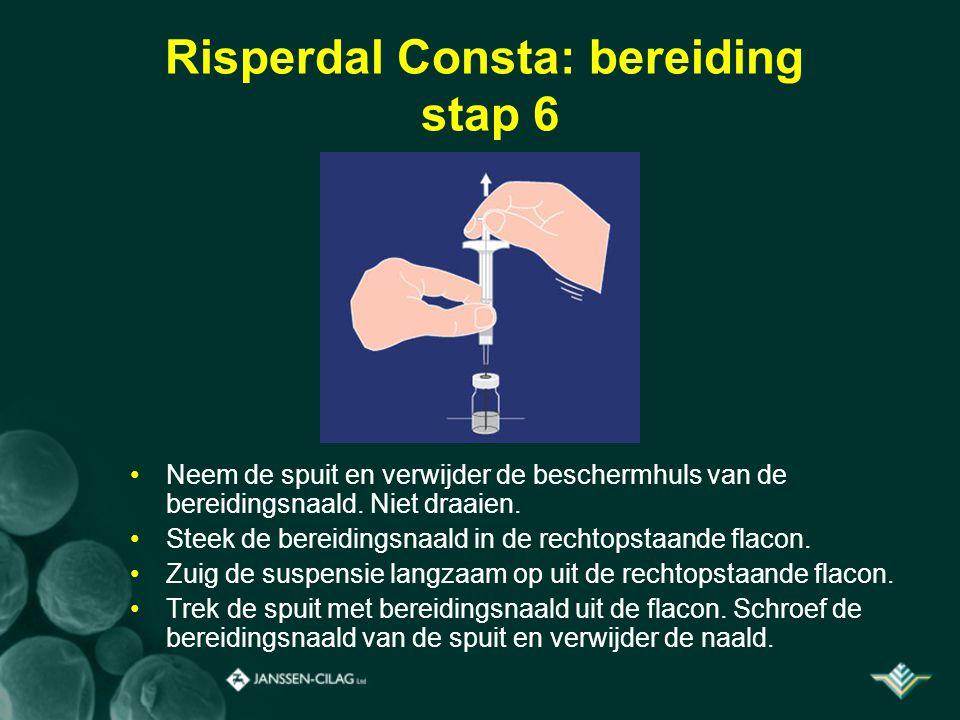 Risperdal Consta: bereiding stap 6 Neem de spuit en verwijder de beschermhuls van de bereidingsnaald. Niet draaien. Steek de bereidingsnaald in de rec