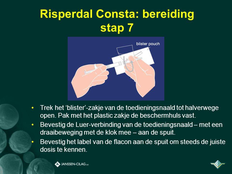 Risperdal Consta: bereiding stap 7 Trek het 'blister'-zakje van de toedieningsnaald tot halverwege open. Pak met het plastic zakje de beschermhuls vas