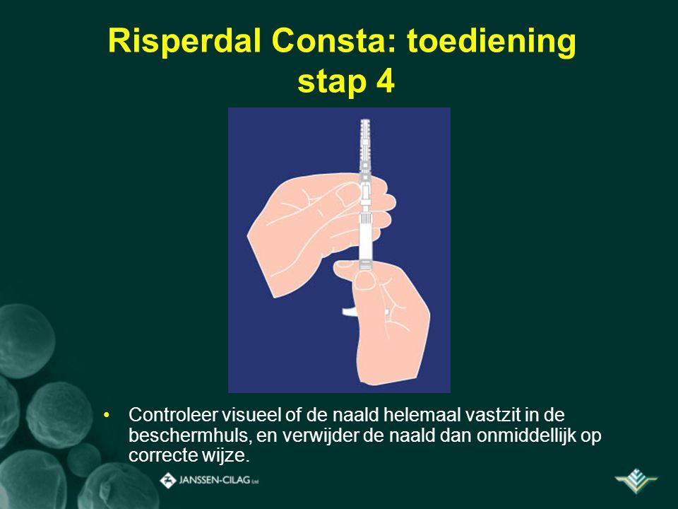 Risperdal Consta: toediening stap 4 Controleer visueel of de naald helemaal vastzit in de beschermhuls, en verwijder de naald dan onmiddellijk op corr