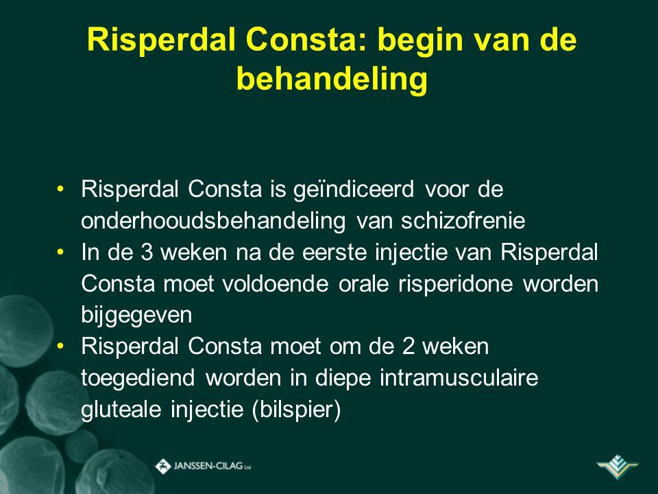 Risperdal Consta: begin van de behandeling Risperdal Consta is geïndiceerd voor de onderhooudsbehandeling van schizofrenie In de 3 weken na de eerste