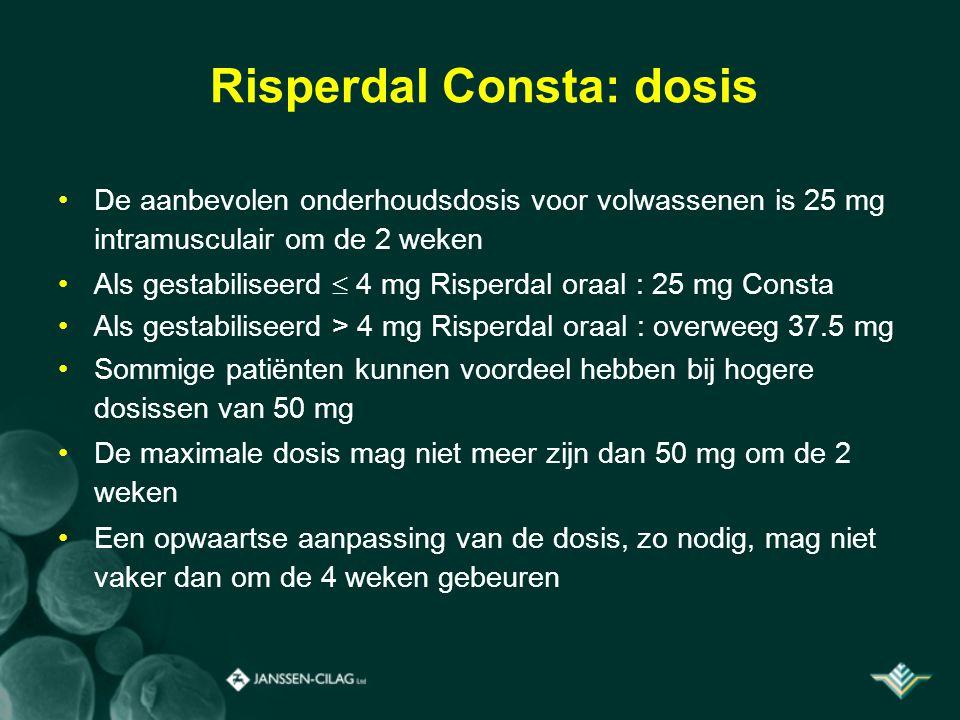 Risperdal Consta: dosis De aanbevolen onderhoudsdosis voor volwassenen is 25 mg intramusculair om de 2 weken Als gestabiliseerd  4 mg Risperdal oraal