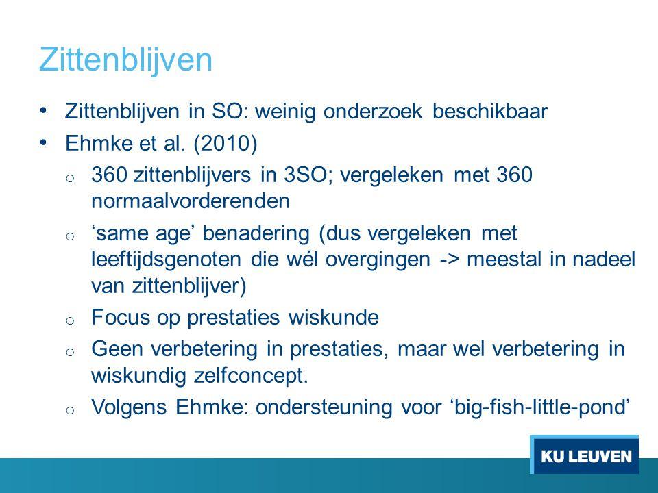 Zittenblijven In Vlaanderen: voorheen geen onderzoek beschikbaar Op basis van LOSO-dataset: zittenblijvers in 2SO Propensity score matching Matchen van 215 zittenblijvers met 1380 normaalvorderende leerlingen.