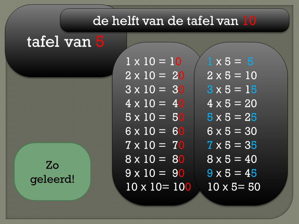 tafel van 5 de helft van de tafel van 10 1 x 10 = 10 2 x 10 = 20 3 x 10 = 30 4 x 10 = 40 5 x 10 = 50 6 x 10 = 60 7 x 10 = 70 8 x 10 = 80 9 x 10 = 90 1