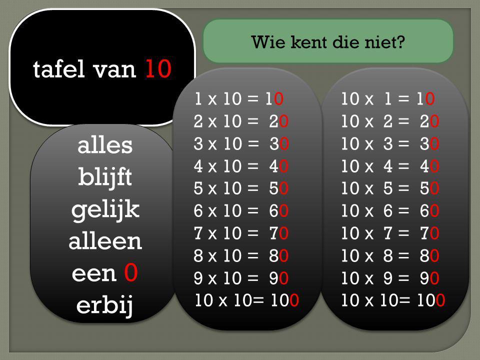 tafel van 10 alles blijft gelijk alleen een 0 erbij 10 x 1 = 10 10 x 2 = 20 10 x 3 = 30 10 x 4 = 40 10 x 5 = 50 10 x 6 = 60 10 x 7 = 70 10 x 8 = 80 10