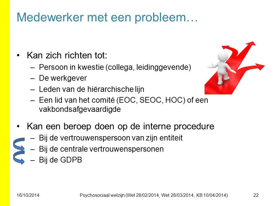 Medewerker met een probleem… Kan zich richten tot: –Persoon in kwestie (collega, leidinggevende) –De werkgever –Leden van de hiërarchische lijn –Een lid van het comité (EOC, SEOC, HOC) of een vakbondsafgevaardigde Kan een beroep doen op de interne procedure –Bij de vertrouwenspersoon van zijn entiteit –Bij de centrale vertrouwenspersonen –Bij de GDPB 16/10/201422Psychosociaal welzijn (Wet 28/02/2014, Wet 28/03/2014, KB 10/04/2014)