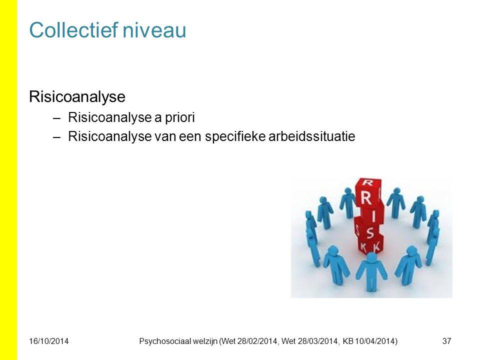 Collectief niveau Risicoanalyse –Risicoanalyse a priori –Risicoanalyse van een specifieke arbeidssituatie 16/10/201437Psychosociaal welzijn (Wet 28/02/2014, Wet 28/03/2014, KB 10/04/2014)