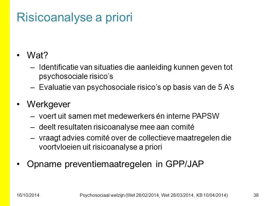 Risicoanalyse a priori Wat? –Identificatie van situaties die aanleiding kunnen geven tot psychosociale risico's –Evaluatie van psychosociale risico's