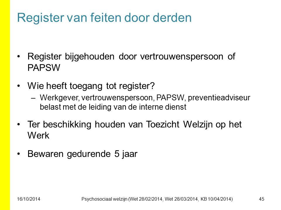 Register van feiten door derden Register bijgehouden door vertrouwenspersoon of PAPSW Wie heeft toegang tot register? –Werkgever, vertrouwenspersoon,
