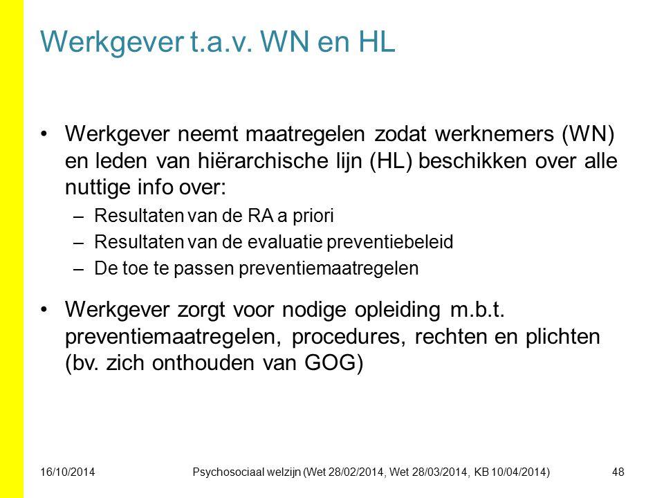 Werkgever t.a.v. WN en HL Werkgever neemt maatregelen zodat werknemers (WN) en leden van hiërarchische lijn (HL) beschikken over alle nuttige info ove