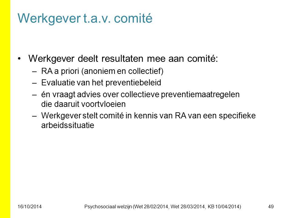 Werkgever t.a.v. comité Werkgever deelt resultaten mee aan comité: –RA a priori (anoniem en collectief) –Evaluatie van het preventiebeleid –én vraagt