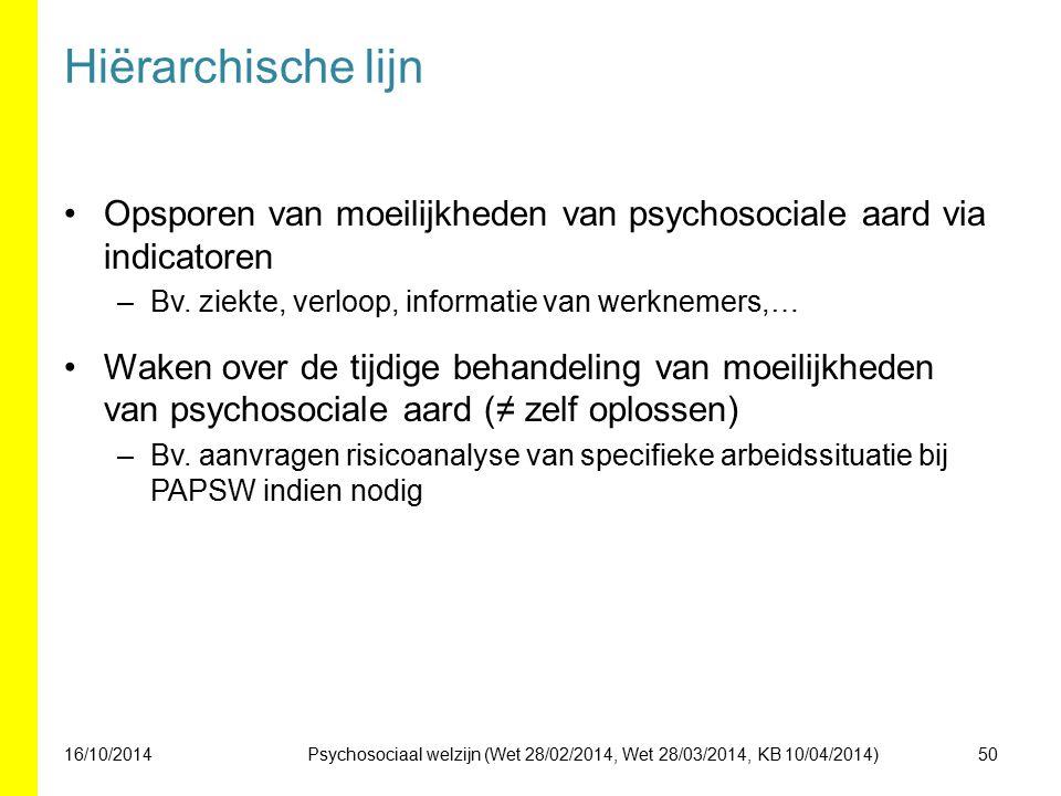 Hiërarchische lijn Opsporen van moeilijkheden van psychosociale aard via indicatoren –Bv. ziekte, verloop, informatie van werknemers,… Waken over de t