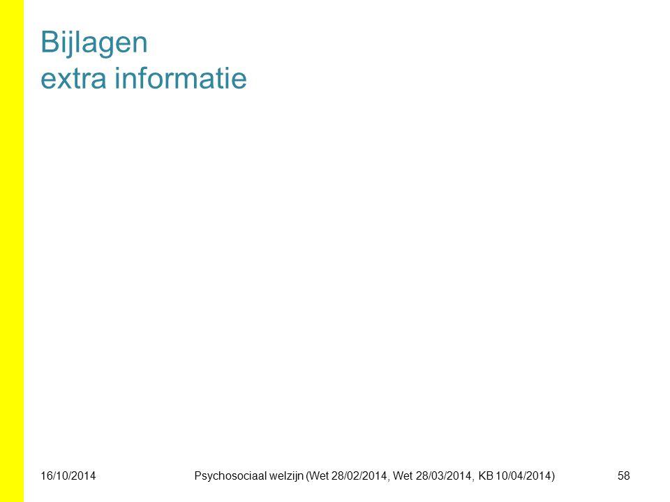 Bijlagen extra informatie 16/10/201458Psychosociaal welzijn (Wet 28/02/2014, Wet 28/03/2014, KB 10/04/2014)