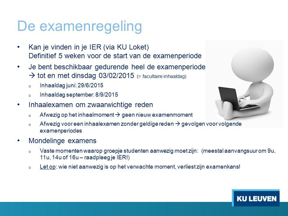 De examenregeling Kan je vinden in je IER (via KU Loket) Definitief 5 weken voor de start van de examenperiode Je bent beschikbaar gedurende heel de e