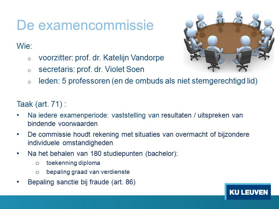 De examencommissie Wie: o voorzitter: prof. dr. Katelijn Vandorpe o secretaris: prof. dr. Violet Soen o leden: 5 professoren (en de ombuds als niet st