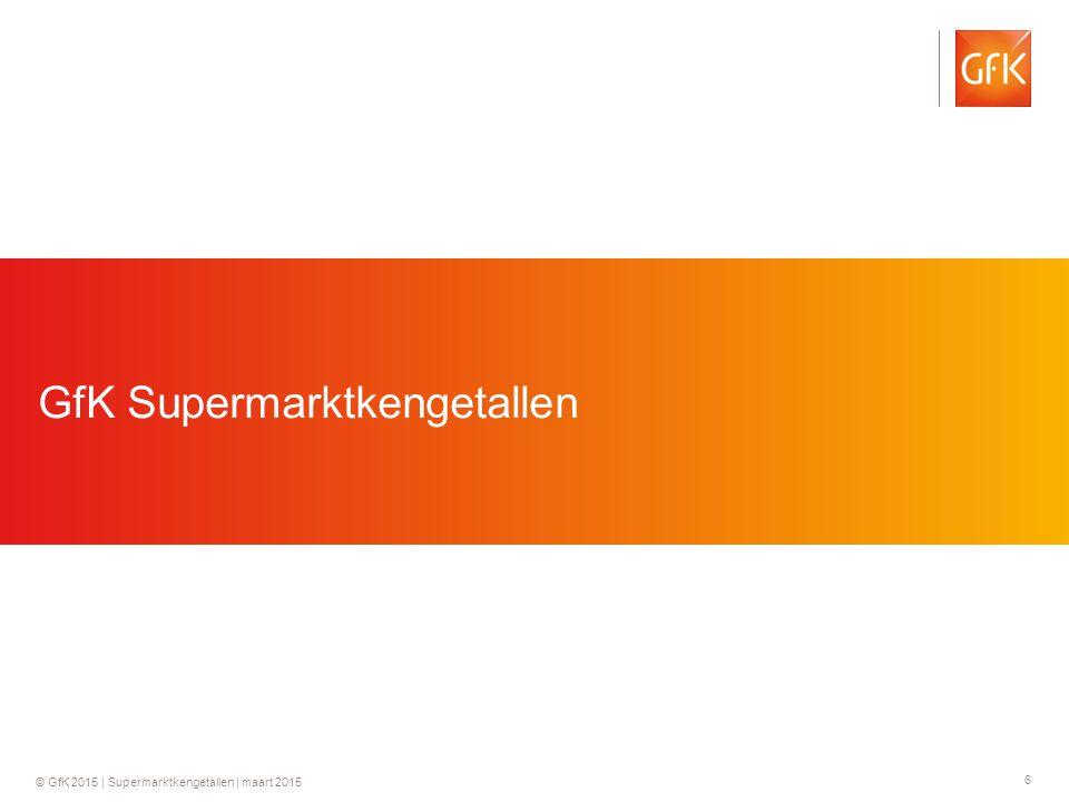 7 © GfK 2015 | Supermarktkengetallen | maart 2015 Onderwerpen 'Wat is de omzet van de supermarkten op weekniveau?' 'Hoe ontwikkelt het aantal kassabonnen zich?' 'Hoe ontwikkelt zich de omzet per kassabon?'