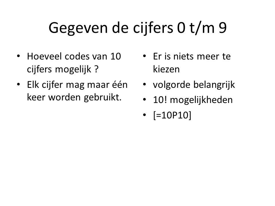 Gegeven de cijfers 0 t/m 9 Hoeveel codes van 10 cijfers mogelijk ? Elk cijfer mag maar één keer worden gebruikt. Er is niets meer te kiezen volgorde b