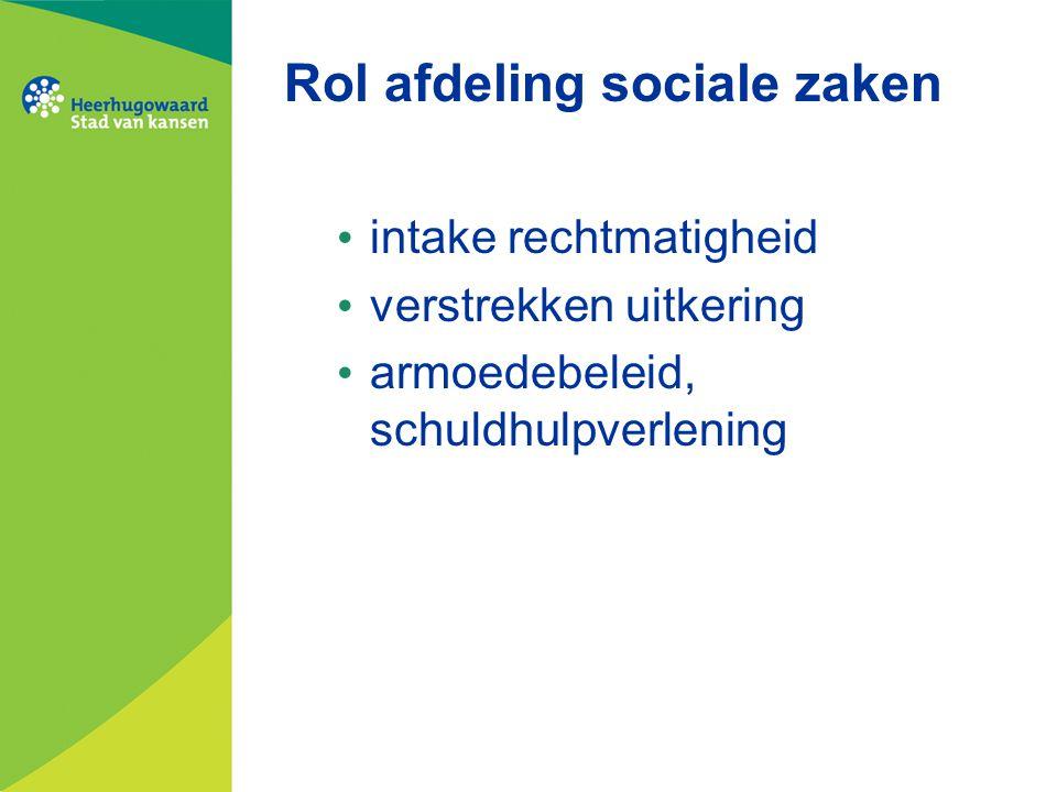 Rol afdeling sociale zaken intake rechtmatigheid verstrekken uitkering armoedebeleid, schuldhulpverlening