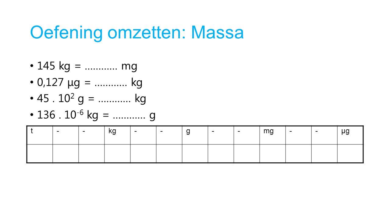 Oefening omzetten: Massa 145 kg = ………… mg 0,127 μg = ………… kg 45. 10 2 g = ………… kg 136. 10 -6 kg = ………… g t--kg--g--mg--μgμg