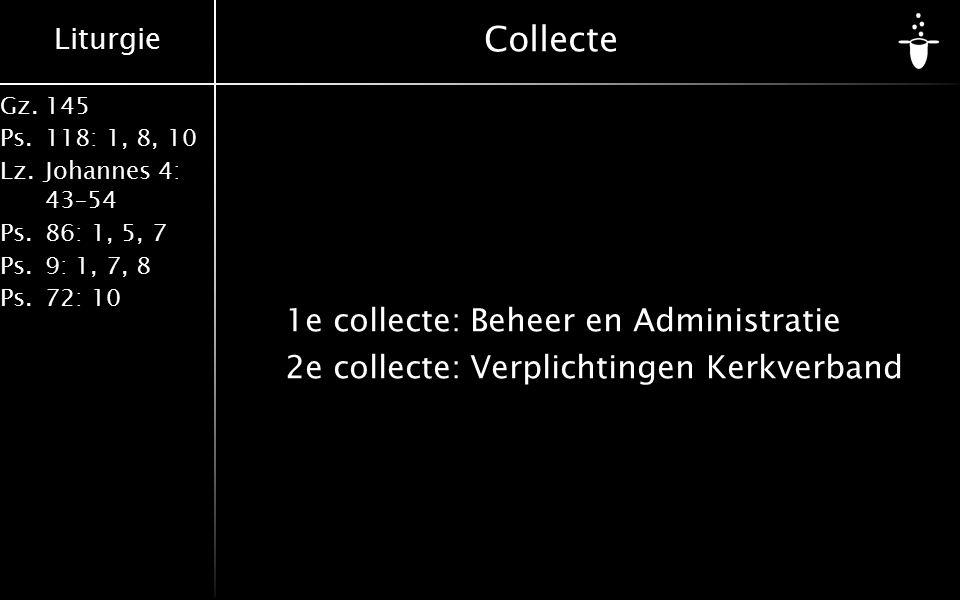 Liturgie Gz.145 Ps.118: 1, 8, 10 Lz.Johannes 4: 43–54 Ps.86: 1, 5, 7 Ps.9: 1, 7, 8 Ps.72: 10 Collecte 1e collecte:Beheer en Administratie 2e collecte:Verplichtingen Kerkverband