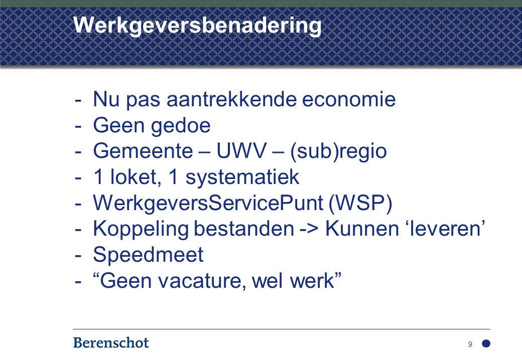 Werkgeversbenadering 9 -Nu pas aantrekkende economie -Geen gedoe -Gemeente – UWV – (sub)regio -1 loket, 1 systematiek -WerkgeversServicePunt (WSP) -Koppeling bestanden -> Kunnen 'leveren' -Speedmeet - Geen vacature, wel werk