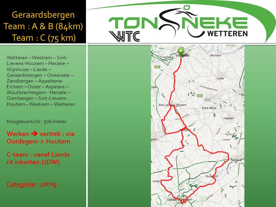 Geraardsbergen Team : A & B (84km) Team : C (75 km) Wetteren – Westrem – Sint- Lievens-Houtem – Herzele – Wijnhuize – Lierde – Geraardsbergen – Onkerz