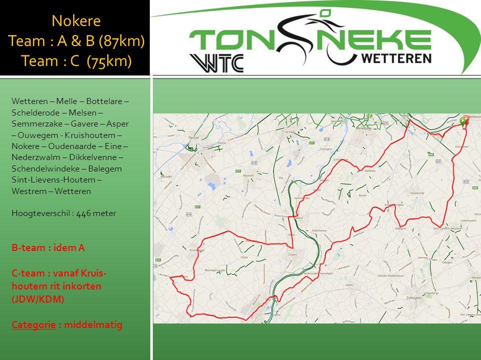 Nokere Team : A & B (87km) Team : C (75km) Wetteren – Melle – Bottelare – Schelderode – Melsen – Semmerzake – Gavere – Asper – Ouwegem - Kruishoutem –