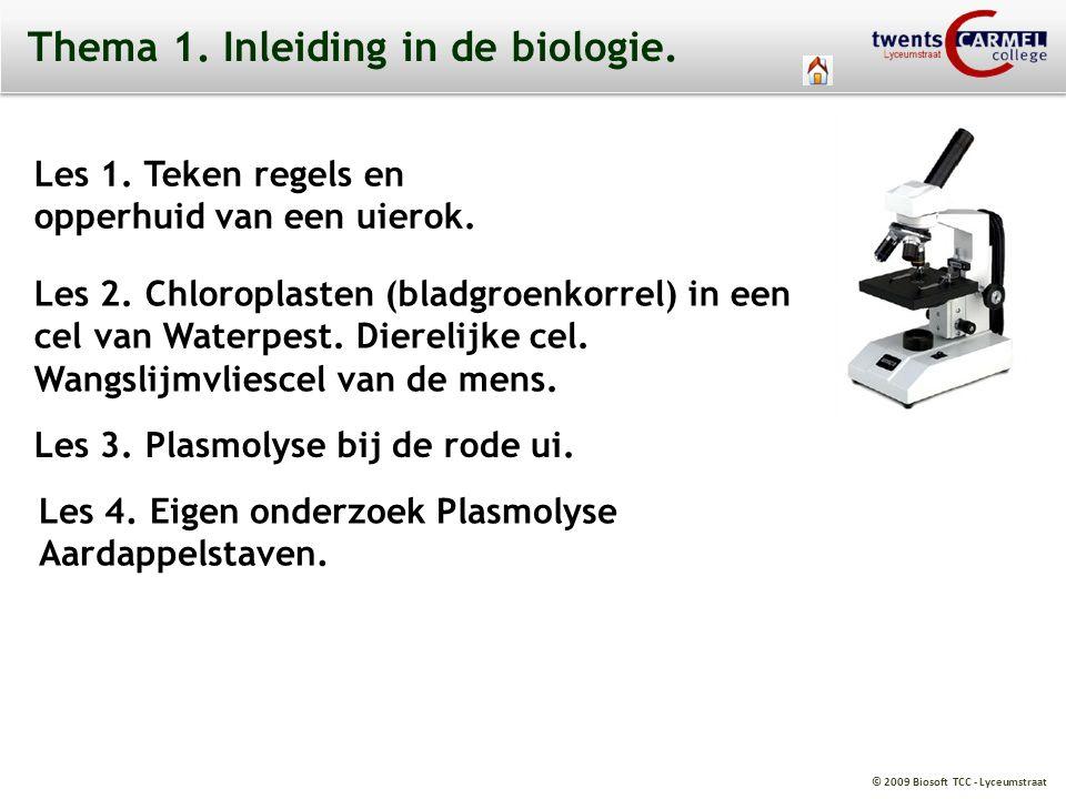 © 2009 Biosoft TCC - Lyceumstraat Thema 1. Inleiding in de biologie. Les 1. Teken regels en opperhuid van een uierok. Les 2. Chloroplasten (bladgroenk