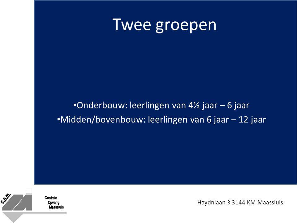 Haydnlaan 3 3144 KM Maassluis Twee groepen Onderbouw: leerlingen van 4½ jaar – 6 jaar Midden/bovenbouw: leerlingen van 6 jaar – 12 jaar
