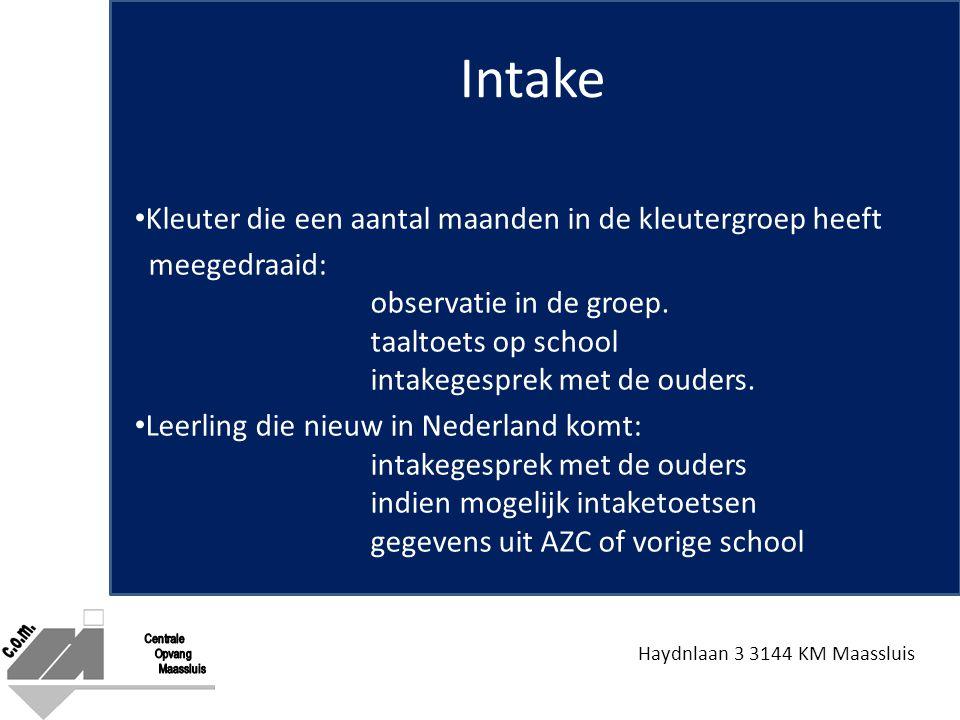 Haydnlaan 3 3144 KM Maassluis Intake Kleuter die een aantal maanden in de kleutergroep heeft meegedraaid: observatie in de groep. taaltoets op school