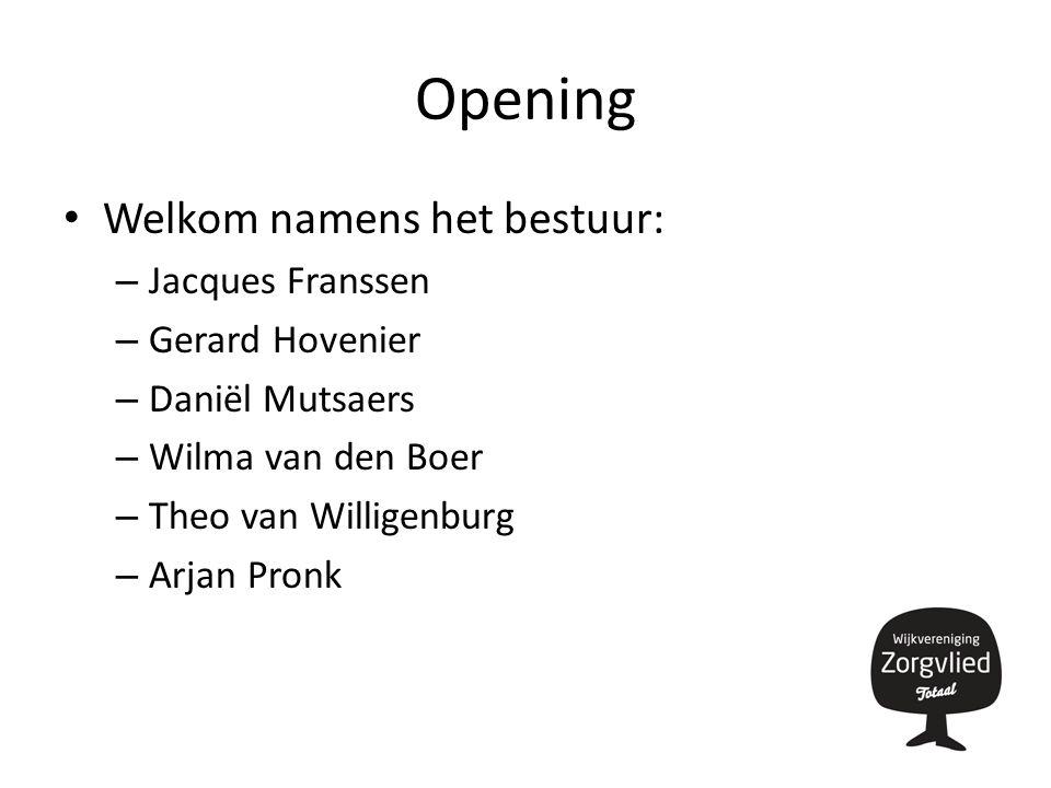 Opening Welkom namens het bestuur: – Jacques Franssen – Gerard Hovenier – Daniël Mutsaers – Wilma van den Boer – Theo van Willigenburg – Arjan Pronk