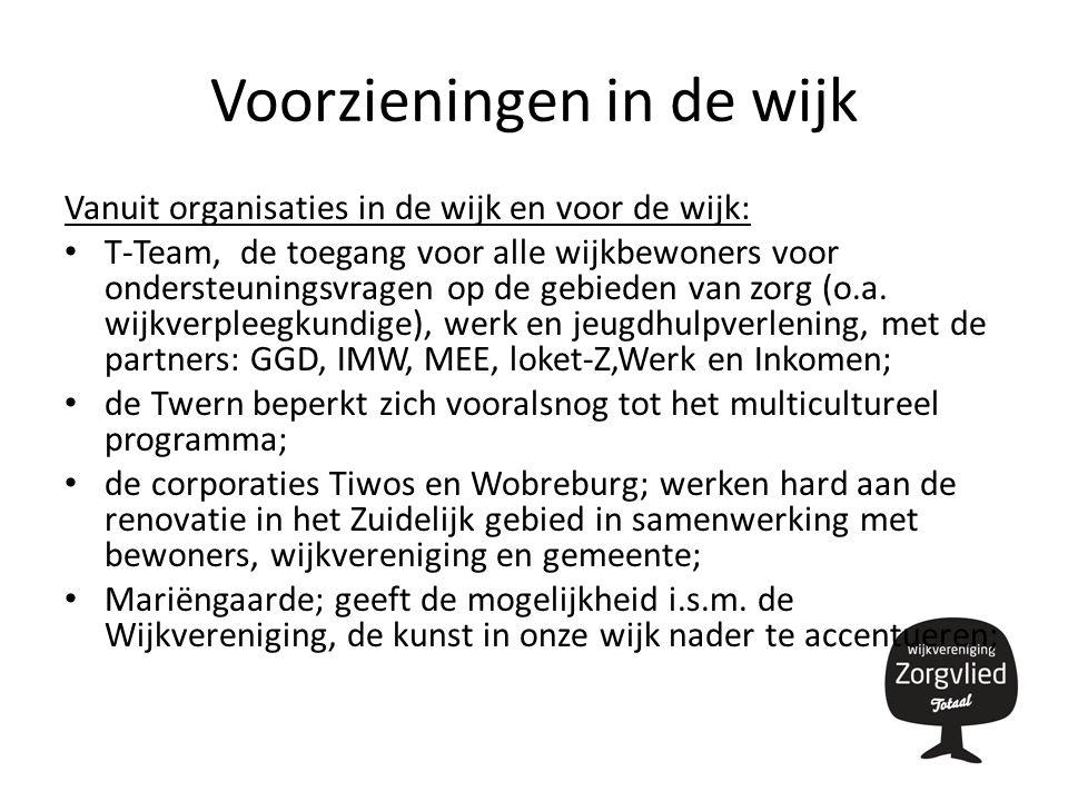 Voorzieningen in de wijk Vanuit organisaties in de wijk en voor de wijk: T-Team, de toegang voor alle wijkbewoners voor ondersteuningsvragen op de gebieden van zorg (o.a.