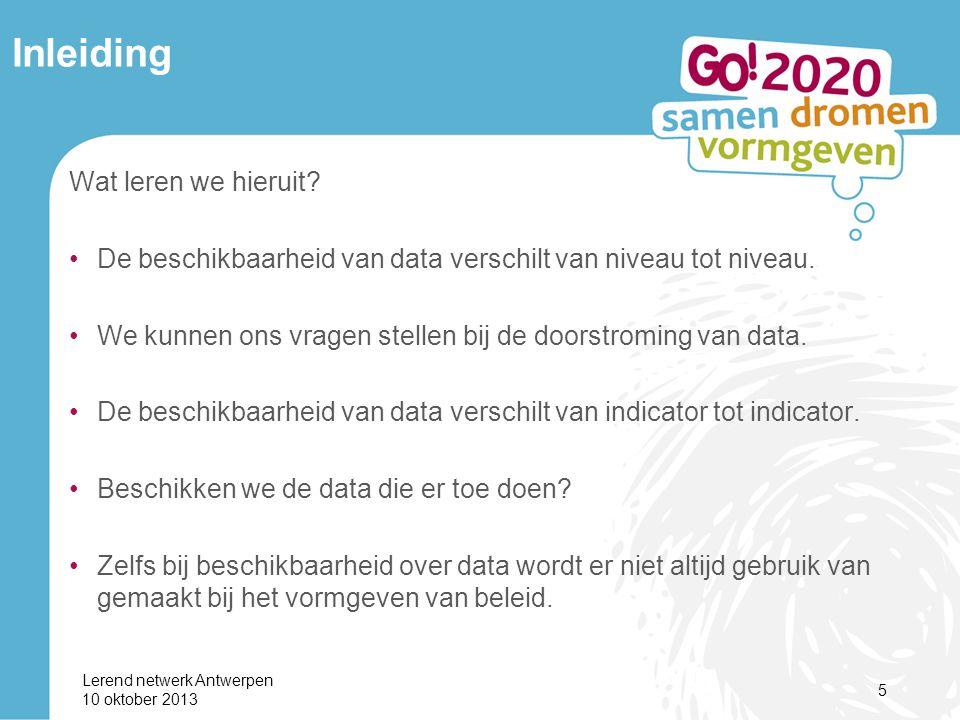 Lerend netwerk Antwerpen 10 oktober 2013 5 Inleiding Wat leren we hieruit.