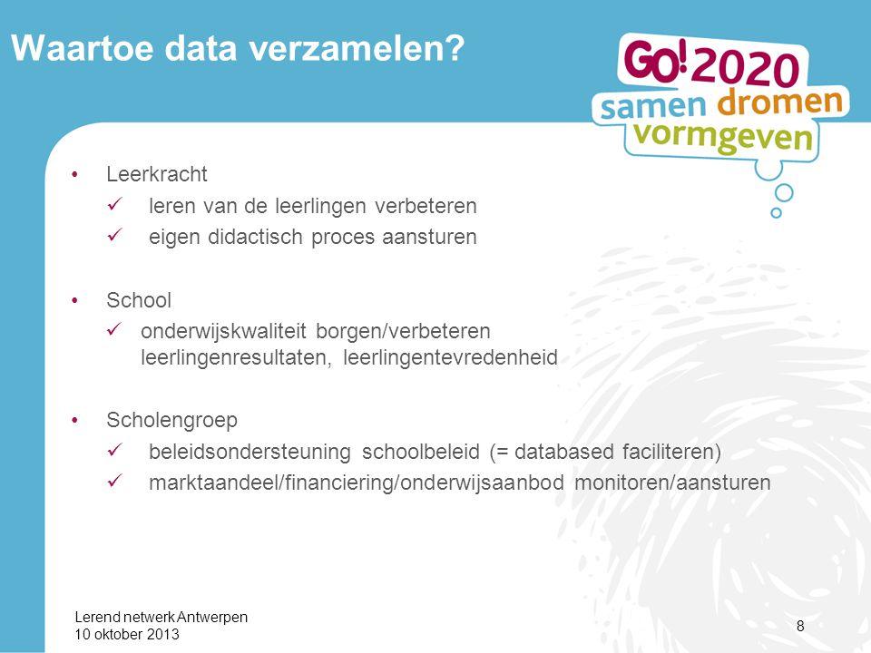 Lerend netwerk Antwerpen 10 oktober 2013 9 Waartoe data verzamelen.