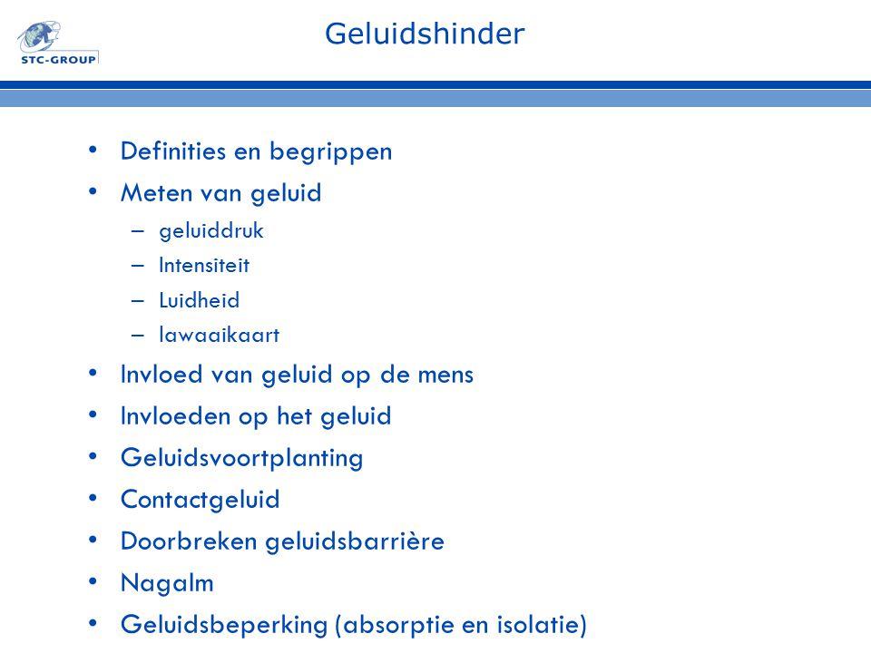 Geluidshinder Definities en begrippen Meten van geluid –geluiddruk –Intensiteit –Luidheid –lawaaikaart Invloed van geluid op de mens Invloeden op het