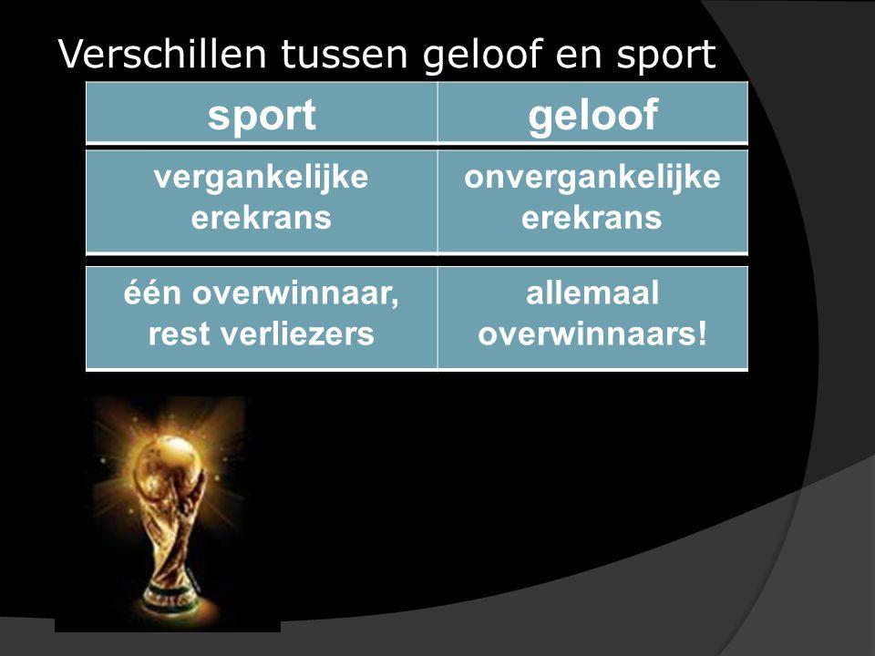 Verschillen tussen geloof en sport sportgeloof vergankelijke erekrans onvergankelijke erekrans één overwinnaar, rest verliezers allemaal overwinnaars!