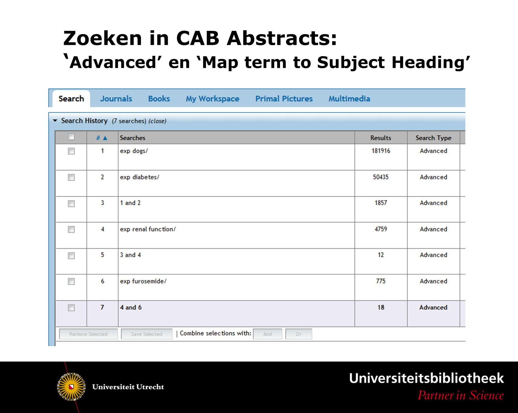 Zoeken in CAB Abstracts: ' Advanced' en 'Map term to Subject Heading'