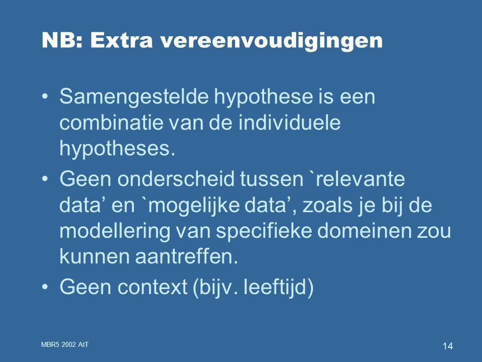 MBR5 2002 AtT 14 NB: Extra vereenvoudigingen Samengestelde hypothese is een combinatie van de individuele hypotheses.