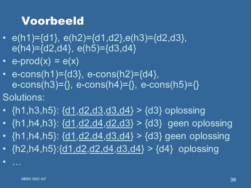 MBR5 2002 AtT 36 Voorbeeld e(h1)={d1}, e(h2)={d1,d2},e(h3)={d2,d3}, e(h4)={d2,d4}, e(h5)={d3,d4} e-prod(x) = e(x) e-cons(h1)={d3}, e-cons(h2)={d4}, e-cons(h3)={}, e-cons(h4)={}, e-cons(h5)={} Solutions: {h1,h3,h5}: {d1,d2,d3,d3,d4} > {d3} oplossing {h1,h4,h3}: {d1,d2,d4,d2,d3} > {d3} geen oplossing {h1,h4,h5}: {d1,d2,d4,d3,d4} > {d3} geen oplossing {h2,h4,h5}:{d1,d2,d2,d4,d3,d4} > {d4} oplossing …