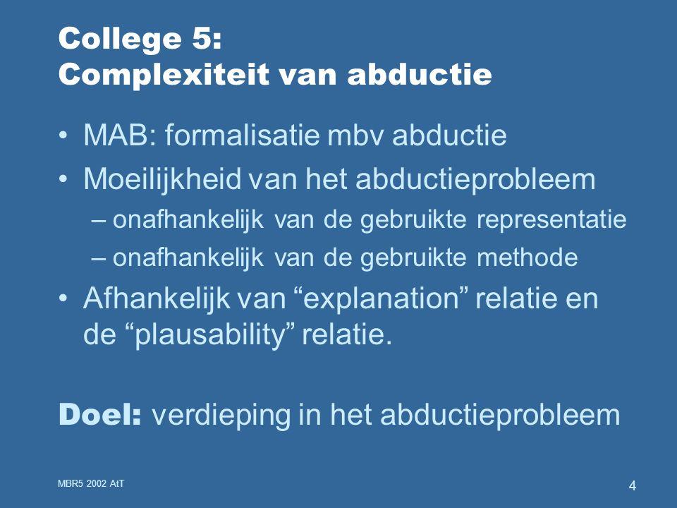 MBR5 2002 AtT 4 College 5: Complexiteit van abductie MAB: formalisatie mbv abductie Moeilijkheid van het abductieprobleem –onafhankelijk van de gebruikte representatie –onafhankelijk van de gebruikte methode Afhankelijk van explanation relatie en de plausability relatie.