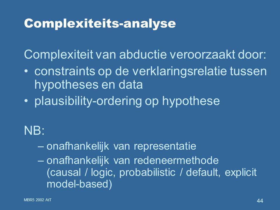 MBR5 2002 AtT 44 Complexiteits-analyse Complexiteit van abductie veroorzaakt door: constraints op de verklaringsrelatie tussen hypotheses en data plausibility-ordering op hypothese NB: –onafhankelijk van representatie –onafhankelijk van redeneermethode (causal / logic, probabilistic / default, explicit model-based)
