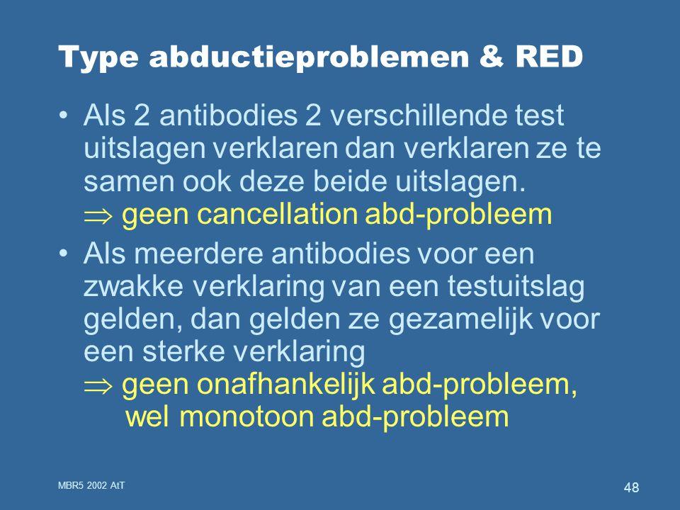 MBR5 2002 AtT 48 Type abductieproblemen & RED Als 2 antibodies 2 verschillende test uitslagen verklaren dan verklaren ze te samen ook deze beide uitslagen.