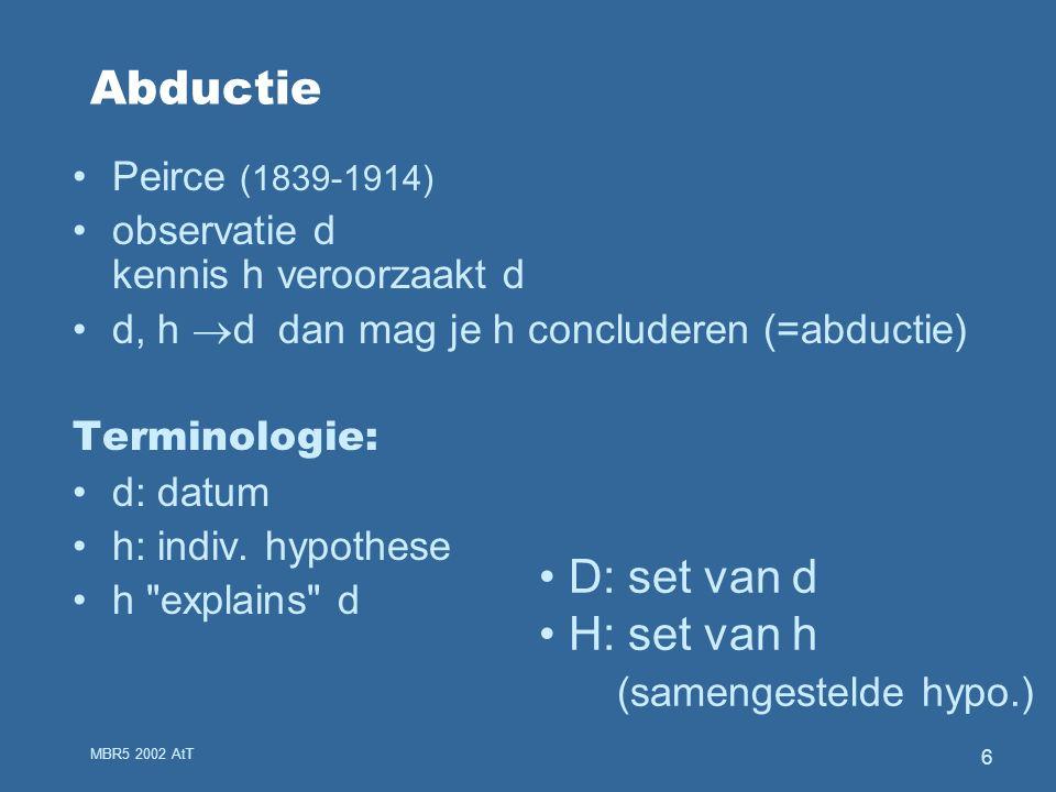 MBR5 2002 AtT 6 Abductie Peirce (1839-1914) observatie d kennis h veroorzaakt d d, h  d dan mag je h concluderen (=abductie) Terminologie: d: datum h: indiv.
