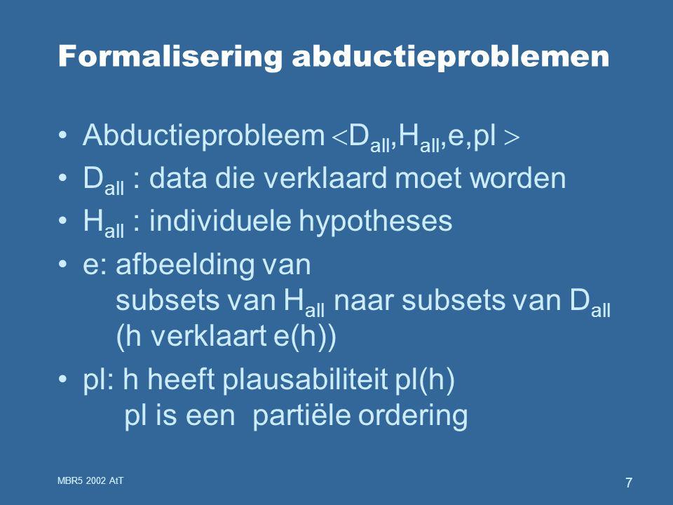 MBR5 2002 AtT 7 Formalisering abductieproblemen Abductieprobleem  D all,H all,e,pl  D all : data die verklaard moet worden H all : individuele hypotheses e: afbeelding van subsets van H all naar subsets van D all (h verklaart e(h)) pl: h heeft plausabiliteit pl(h) pl is een partiële ordering