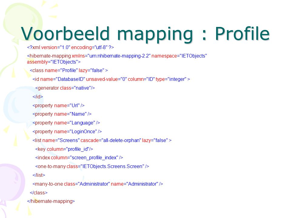 Voorbeeld mapping : Profile