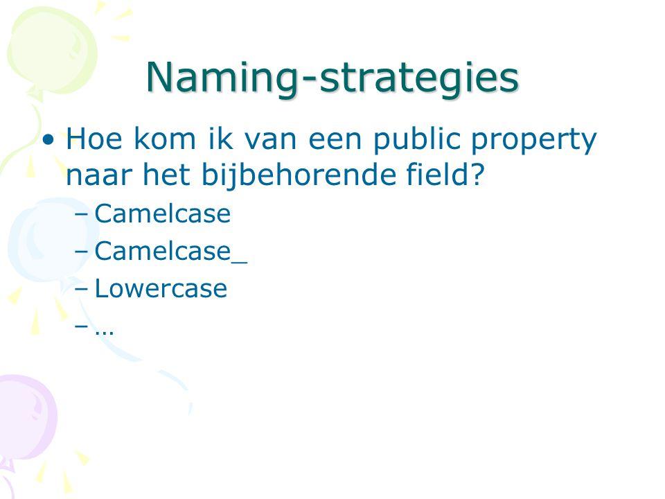 Naming-strategies Hoe kom ik van een public property naar het bijbehorende field? –Camelcase –Camelcase_ –Lowercase –…