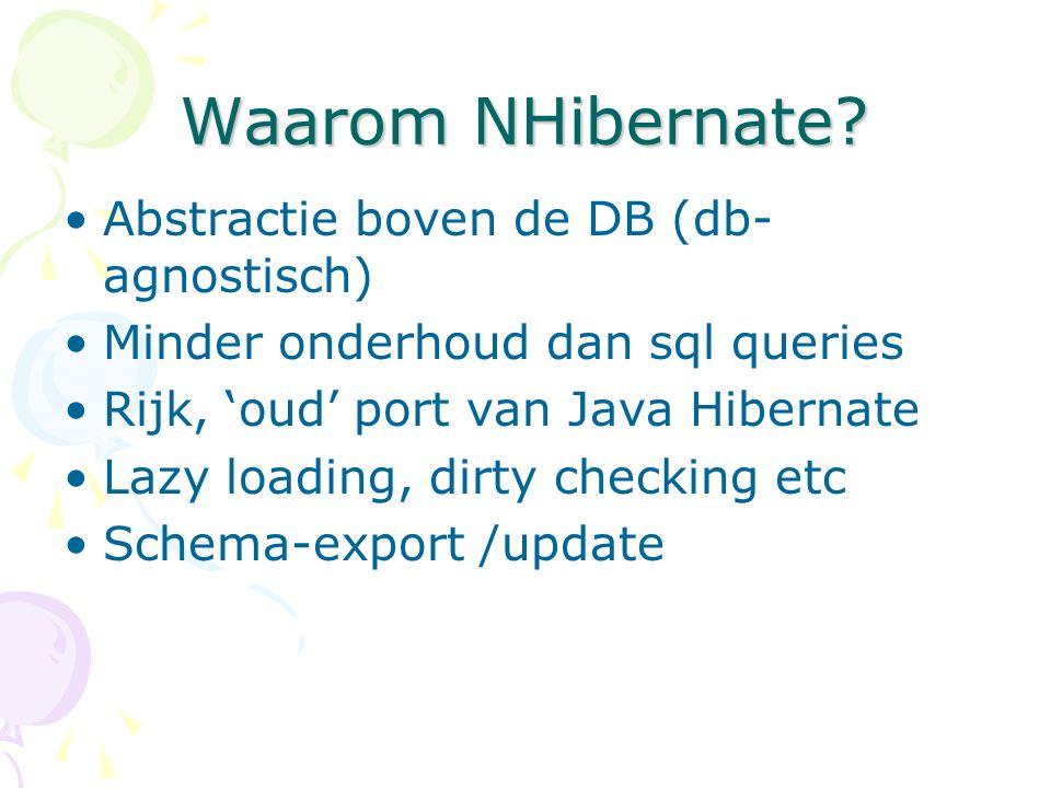 Waarom NHibernate? Abstractie boven de DB (db- agnostisch) Minder onderhoud dan sql queries Rijk, 'oud' port van Java Hibernate Lazy loading, dirty ch