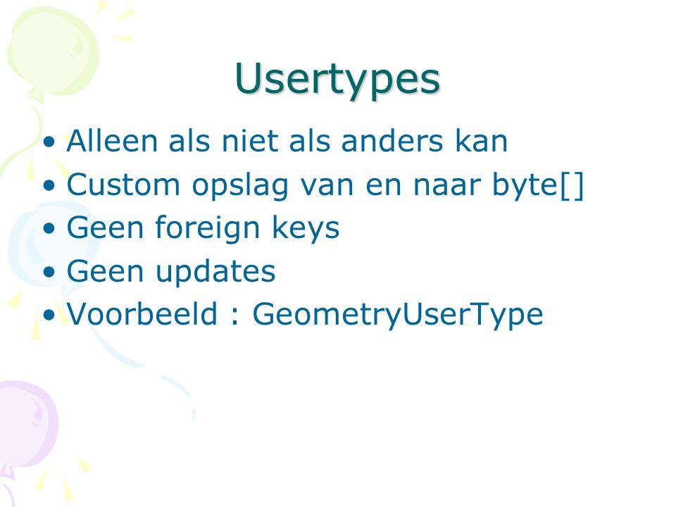 Usertypes Alleen als niet als anders kan Custom opslag van en naar byte[] Geen foreign keys Geen updates Voorbeeld : GeometryUserType